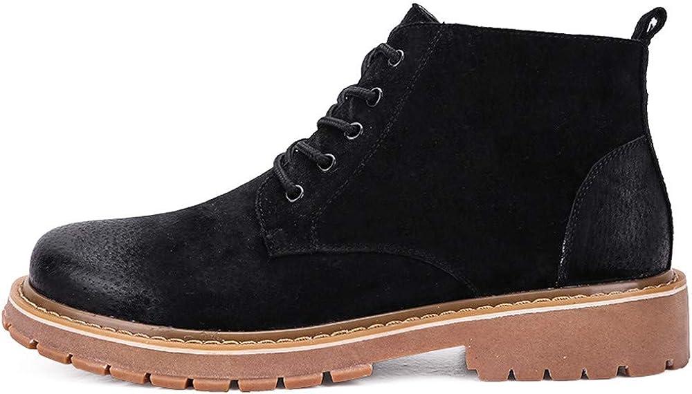 SJXIN-Mens Bottes Hiver Hiver Hommes Bottes, Bottes d'hiver en Cuir véritable Chaussures Classique Homme Design Noir