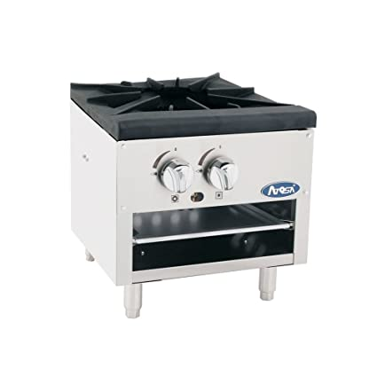 Atosa US Single Stock Pot Stove Natural Gas Stainless Steel Countertop  Portable Commercial Gas Burner Range