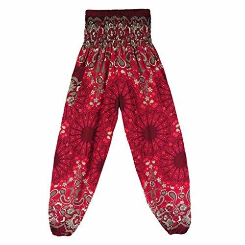 AmyDong Yoga Pants, Men Women High Waist Yoga Pants Loose Thai Harem Trousers Boho Festival Hippy Smock Fitness Leggings (Free Size, -