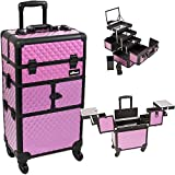 Sunrise I3564DMPLB Purple Diamond 3 Tiers Accordion Trays 4 Wheels Professional Rolling Aluminum Cosmetic Makeup Craft Storage Organizer Case and 3 Tiers Extendable Trays with Mirror and Brush Holder