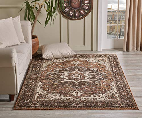 Golden Rugs Gabbeh Collection Area Rug 5x7 Medallion Terra Hand Touch Vintagel Traditional Texture for Bedroom Living Dining Room ()