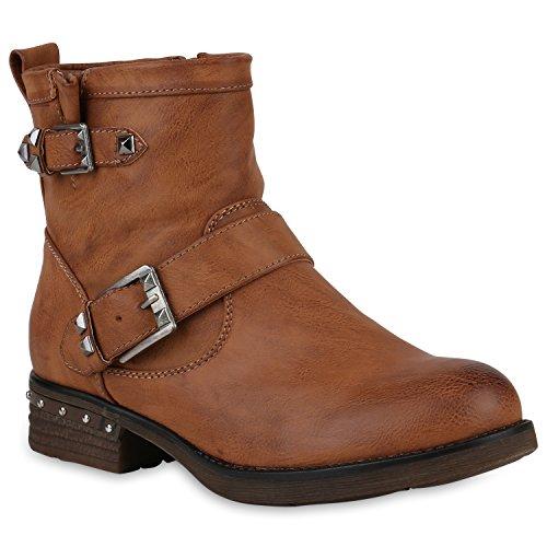 Stiefelparadies Damen Biker Boots Stiefeletten Prints Profil Sohle Block Absatz Flandell Hellbraun Nieten