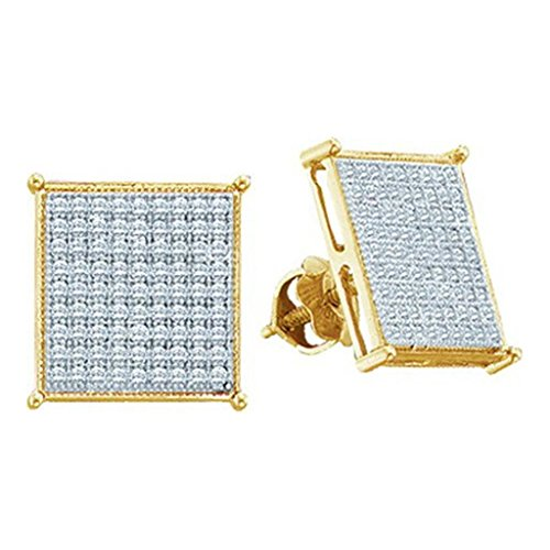 10k Gold Square Earrings 0.15cttw Diamond Mens Earrings Large 7mm Wide Screw Back (i3, j/k) (10k Gold Diamond Earrings)