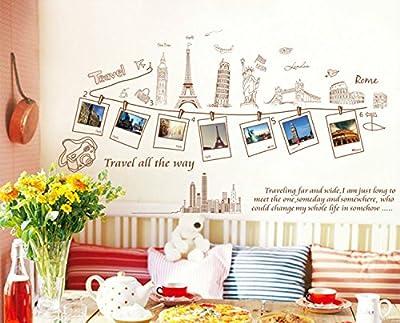 BININBOX DIY Removable Wall Decal Travel Around The World -London ,France,USA, Greek ,Rome PVC Art Decor