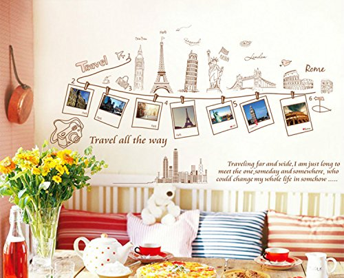 BININBOX DIY Removable Wall Decal Travel Around The World -London ,France,USA, Greek ,Rome PVC Art Decor by BININBOX