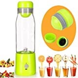 Glodeals Mini USB Rechargable Juicer Smoothie Blender 380mL Portable Lightweight Personal Juicer Glass Cup (Green)