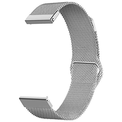 TenCloud for Garmin Forerunner 645/645 Music GPS Watch Replacement Easy-Click Metal Stainless Steel Watch Band and Strap with Magnetic Clasp (Silver)
