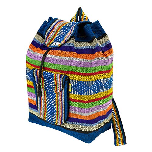 PINZON Large Unisex Hippie Backpack Woven Canvas Rucksack Drawstring Mexican Baja Boho Aztec Girls School Bags Boys Foldable Bag Casual Daypack Beach Unisex Bohemian Duffle bag Mexico (Multicolour) For Sale