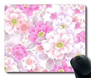 """Pink White Floral Pattern Rectangle Oblong Mouse Pad Design Mousepad in 220mm*180mm*3mm (9""""*7"""") -81901"""