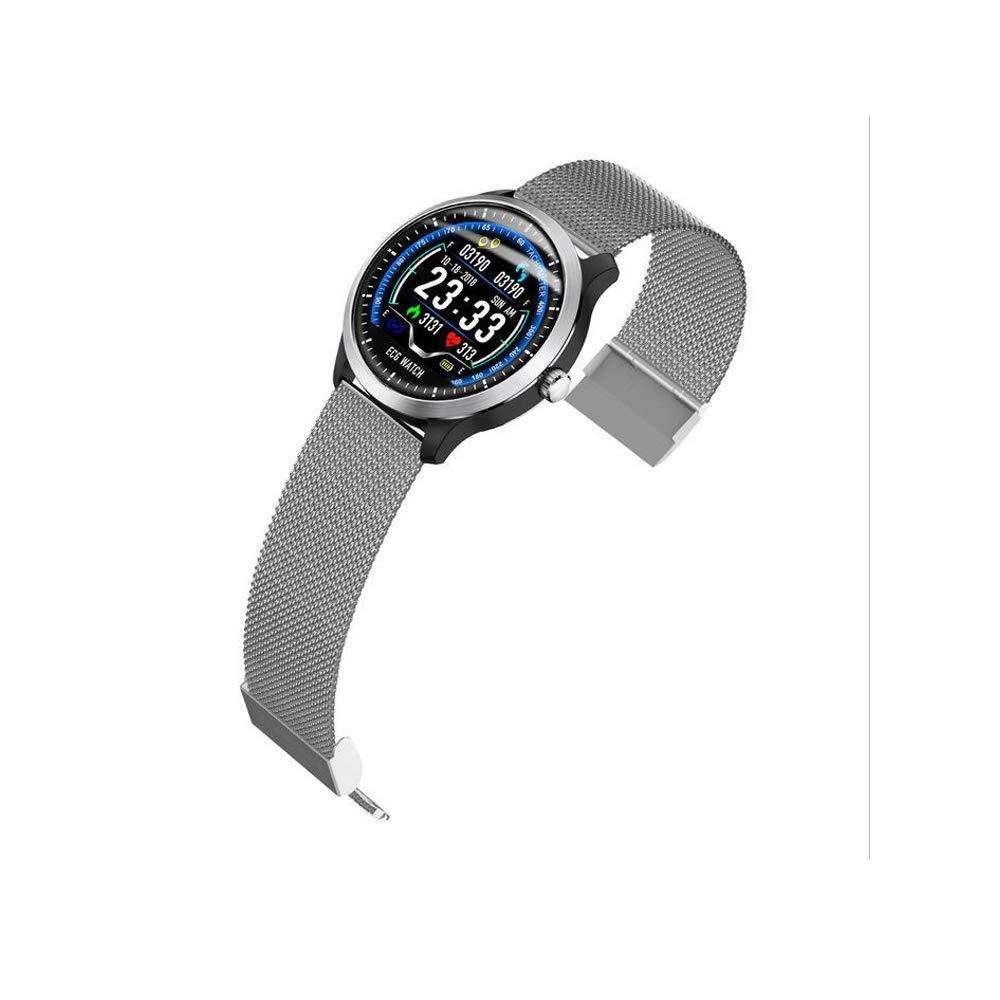 フィットネスウォッチインテリジェントスチールストラップ心電図ブレスレット用高齢者心拍数睡眠血圧モニター歩数計トラッカー防水 IP67 タッチスクリーン  Gray B07MGR2XRW