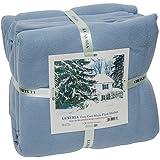 LUXURIA Micro Plush QUEEN Blanket, LIGHT BLUE