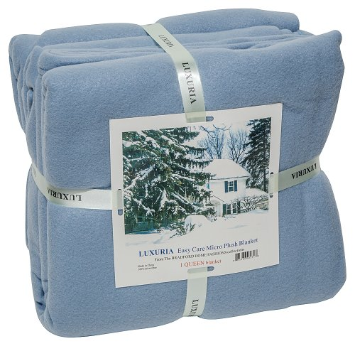 LUXURIA Micro Plush QUEEN Blanket, LIGHT BLUE by Italian Collection