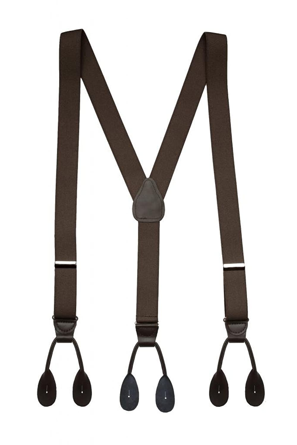 Men's Steampunk Clothing, Costumes, Fashion Suspenders Elastic Y-back Fully Adjustable Button end Suspender – Made in USA - With Genuine Leather Button Tabs and Crosspatch $23.99 AT vintagedancer.com