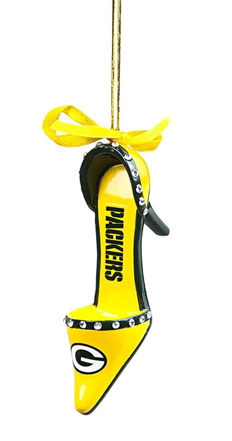 nfl green bay packers high heel shoe christmas ornament small multicolored - Green Bay Packers Christmas Ornaments