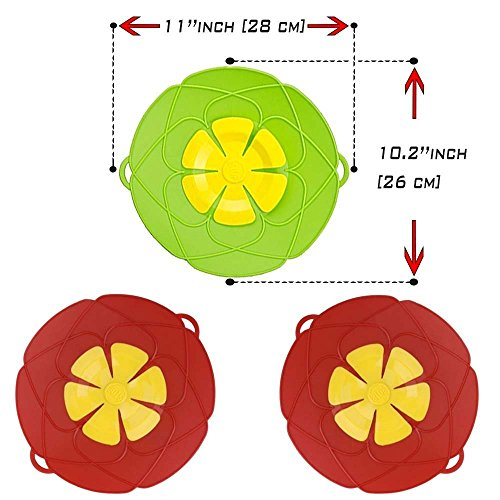 Spill Stopper Lid Cover, Cookware Silicone Lids Boil Over Safe Guard 11'' 2 PCS UNIVERSAL