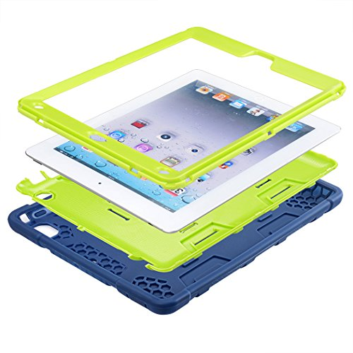 iPad Air 2 Case, WORLDMOM [Hybrid Shockproof Case] with KickStand Support Rugged Triple-Layer Heavy Duty Shock Resistant Drop Proof Case Cover for iPad Air 2 with Retina Display/iPad 6,Blue/Green by WORLDMOM (Image #3)