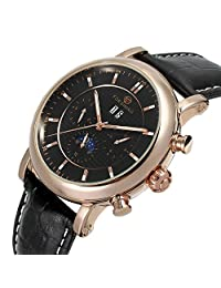 Fanmis Men's Automatic Mechanical Moon Phase Calendar Watch Black Leather Strap Rose Gold & Black