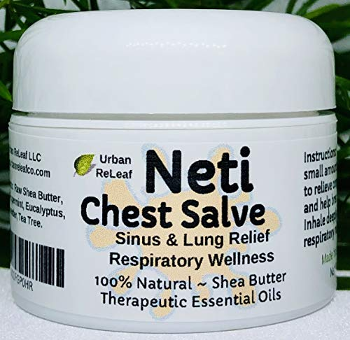 (Urban ReLeaf NETI Chest Salve ! Sinus & Lung Relief. Respiratory Wellness. Clearing, Healing Ions Aromatherapy. Handy Portable. Healing Botanicals Colds Cough Therapy 100% Natural)