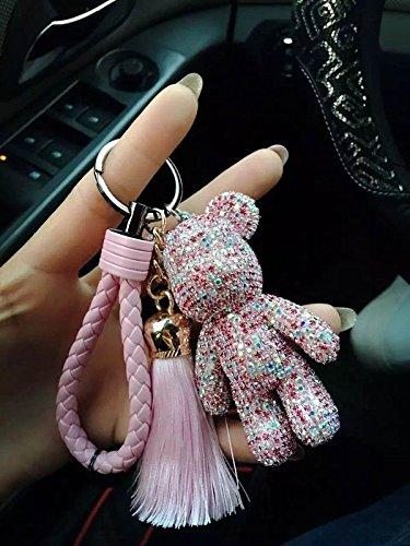 Cute Bear Keychains rhinestone with tassel leather rope keychains bling bling key chain (Bling Teddy)