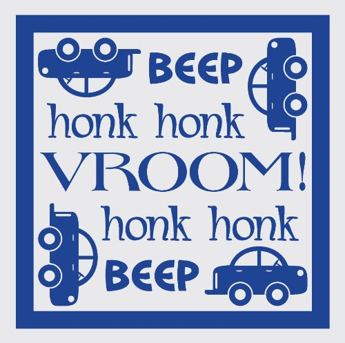 - Wall Décor Plus More WDPM1462 Beep Honk Vroom Wall Vinyl Sticker with Car Decal, 23 W  x  23 H, Traffic Blue