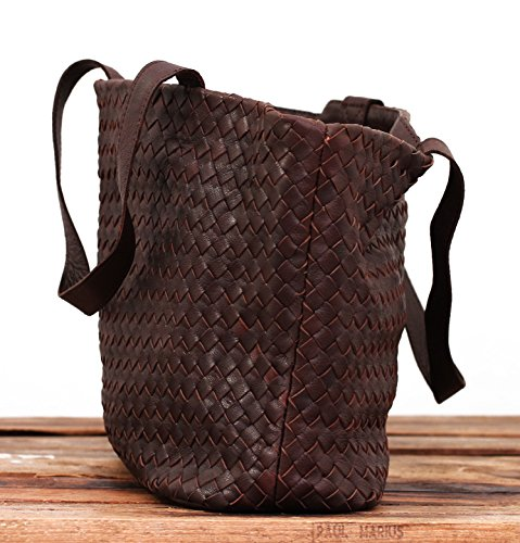 LE TRESSAGE Indus pelle intrecciata borsa tote bag in stile vintage PAUL MARIUS
