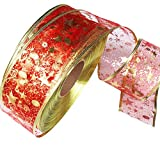 Vertily Wired Christmas Ribbon, 2m Assorted Tinsel Swirl Sheer Organza Glitter Ribbons Chritmas Design Decorations (Red)