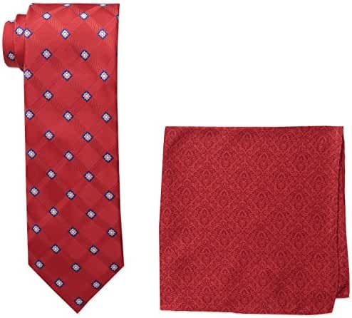 Steve Harvey Men's Satin Grid Necktie and Brocade Pocket Square Set