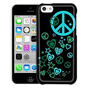 Apple iPhone 6 plus 5.5 Case, Slim Fit Snap On Cover by Trek Green Love Peace Stars on Black Trans Case