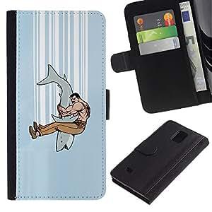 // PHONE CASE GIFT // Moda Estuche Funda de Cuero Billetera Tarjeta de crédito dinero bolsa Cubierta de proteccion Caso Samsung Galaxy Note 4 IV / Shark Jaw Fighter /