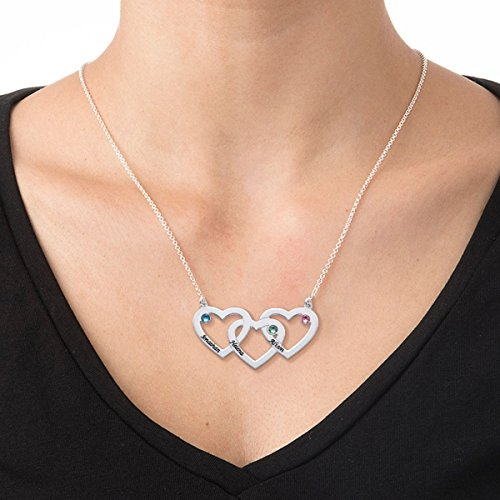 Womans Swarovski Birthstones Engraved Intertwined Hearts Necklace -Personalized Jewelry Gift