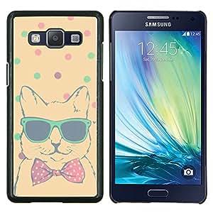 Trullo Lunares Cool Cat Bowtie Sombras- Metal de aluminio y de plástico duro Caja del teléfono - Negro - Samsung Galaxy A5 / SM-A500