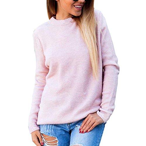 larga manga choker Mujeres v punto rosa collar moda de jersey suelta fwqXEXYrH