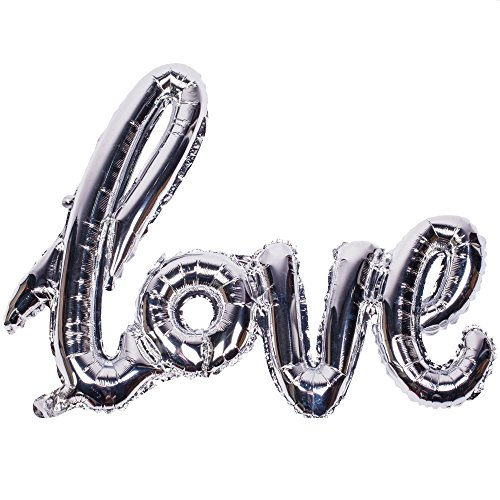 (Love 42 Inch Valentines Day Decorations Party Helium Foil Mylar Balloon - Silver)
