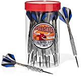 Bullseye Steel Tip Darts (24 pack) with Flights in Handy Carry and Store Jar Carrying Case. 21 Grams Perfect for All Levels in Every Rec Room, Man Cave, Bar and Game Room