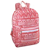 Trailmaker Girls' All Over Printed Backpack 17 Inch With Padded Straps (Peach Tribal)