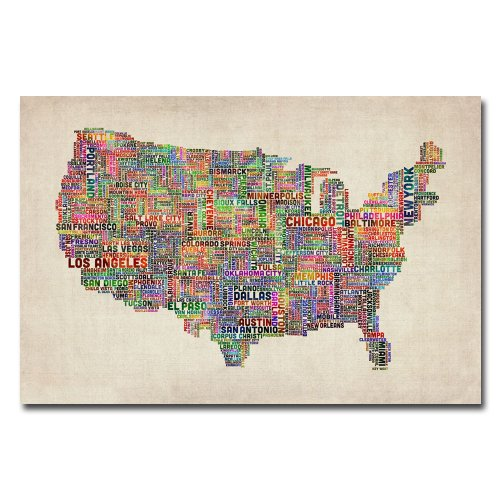 US Cities Text Map VI by Michael Tompsett, 22x32-Inch Canvas Wall Art -