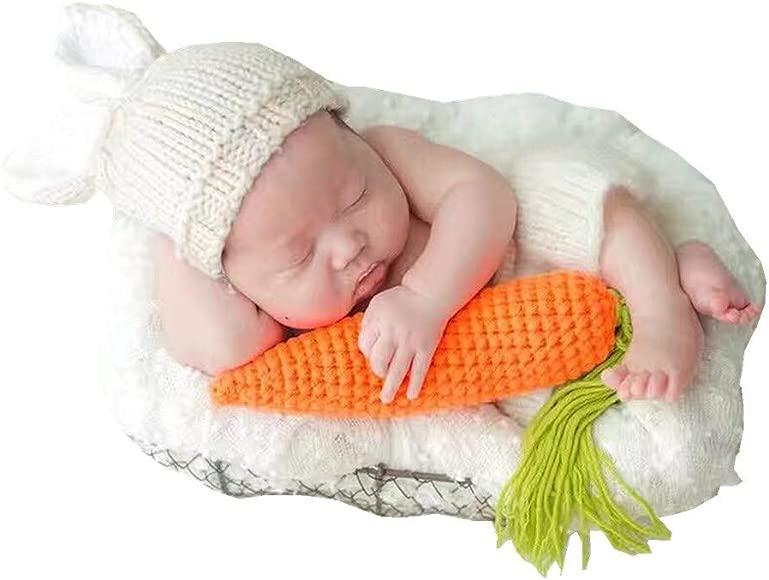 Newborn Baby Girls Boys Crochet Knit Photo Photography Prop Carrot+Costume Newly
