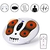 EMS Foot Massager - Boosters Circulation & Body Infrared Therapy Heated Machine, Improve Blood Circulation and Relieve Ache and Pains, Remote Control and 25 Massage Modes with Belt