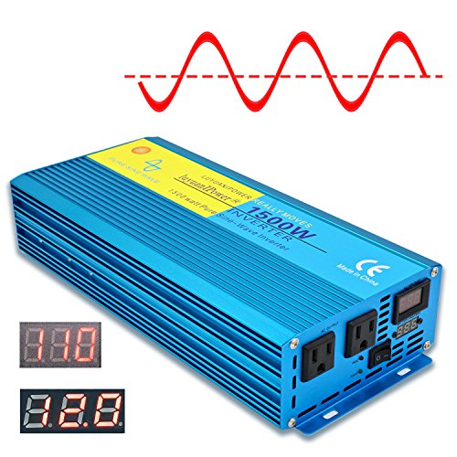 Cantonape 1500W Pure Sine Wave Power Inverter 3000W Peak Power Converter DC 12V to 110V AC LCD Display, Dual AC Outlets Car Boat Truck RV Solar Power (1500 Watt Pure Sine Wave Power Inverter)