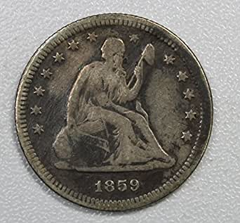 1859 P Seated Liberty Quarter 25c Fine Details