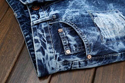 Vaqueros Ajustados Jeans Rasgados Pantalones Vaqueros Casuales Los Clubwear Denim Destruidos Pantalones Pantalones Slim Fit Bleach Hombres Blau Pantalones Biker Largos Vaqueros De g6BqPngv