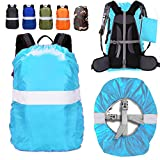 ZM-SPORTS 15-85L Upgraded Waterproof Backpack Rain Cover,with Vertical Adjustable Fixed Strap Avoid to Falling,Gift with Portable Storage Pack (Azure with Reflective Strip, S(for 15-25L Backpack)