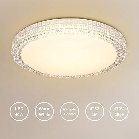 OOWOLF Lámpara De Techo Moderna, 40W 2800-3200K Plafon Luz De Techo Regulable LED Lamparas De Dormitorio Sala De Estar Comedor Estudio Habitación ...