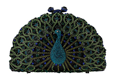 Yilongsheng Ladies Peacock Evening Party Clutch Bags with Shiny Crystal Diamonds (Green) by YILONGSHENG