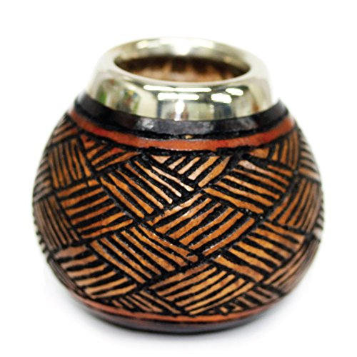 Tealyra - Hand Made Carved Yerba Mate Gourd - Made in Argentina - Traditional Drinking Gourd - Authentic Argentinian Mate Cup (Alpaca Rim)