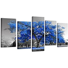 Kreative Arts - Canvas Print Wall Art Painting Contemporary Blue Tree In Black And White Style Fall Landscape Picture Modern Giclee Stretched And Framed Artwork (Large Size 60x32inch)