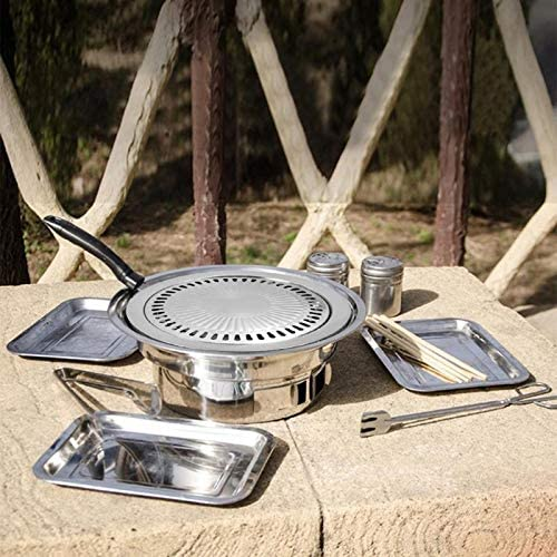 AZLMJXH Grill Pan Multifonctions Outil de Cuisine Fer Smokeless Barbecue Grill Plaque de Cuisson Pan antiadhésives gaz extérieur Torréfaction Outil BBQ Grills