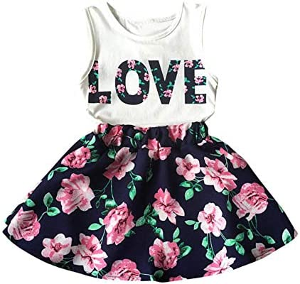 5124f35a82342 Silverone 2pcs Letter Floral Print Baby Girls Toddler Kids Summer ...