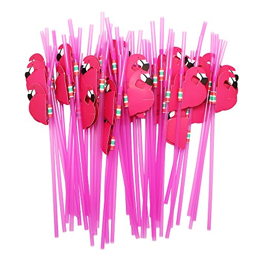 Hysagtek 50 Pcs Flamingo Drinking Straws Bendable Cocktail Straws for Party Birthday Wedding Tableware Decoration,Rose ()