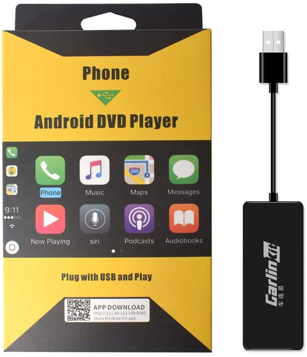 Wired CarPlay Dongle for Car Screen with Android System 4.4.2 or Above, Support Android Auto/Mirroring/USB Connect/SIRI Voice Control/Google Maps/Upgrade, Black